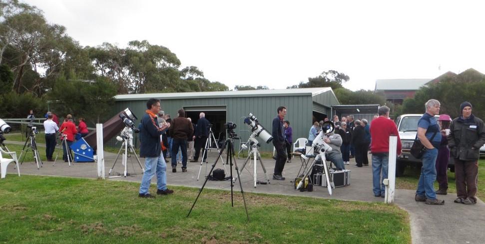 Telescopes in front of MPAS auditorium building