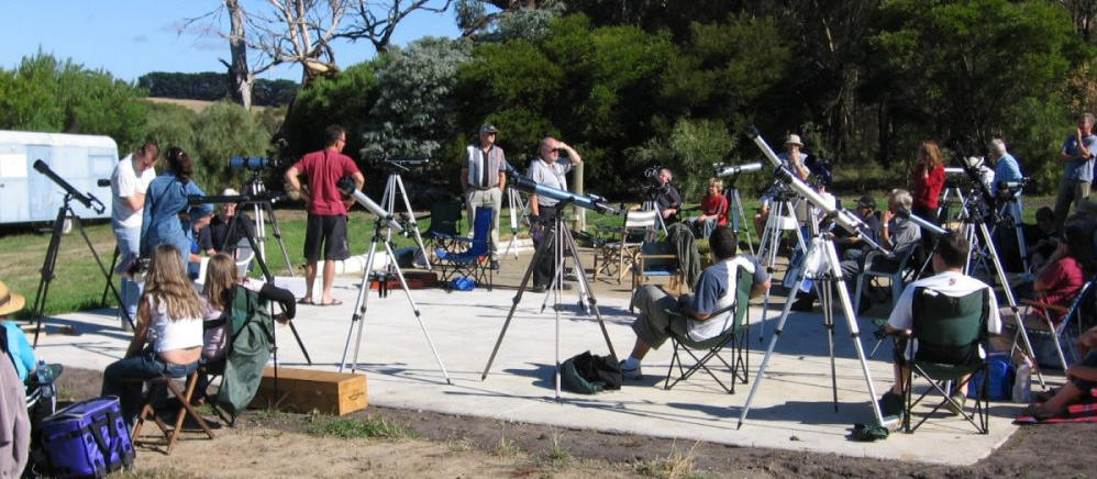 Telescopes on concrete slab at Mt Martha Observatory