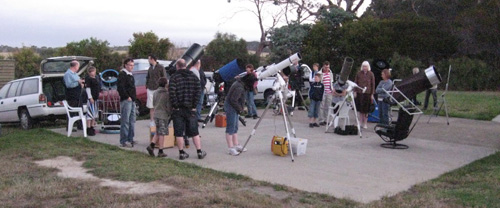 Telescopes set up for public stargazing