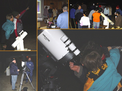 Kids looking through telescopes